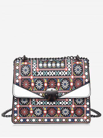 Store PU Leather Chain Tribal Print Crossbody Bag