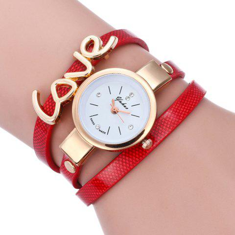 New Love Faux Leather Wrap Bracelet Watch