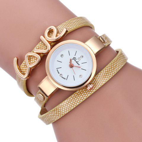 Trendy Love Faux Leather Wrap Bracelet Watch