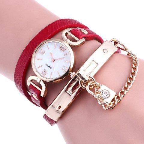 Sale Lock Number Wrap Bracelet Watch - RED  Mobile