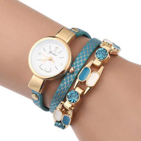 Trendy Rhinestone Layered Wrap Bracelet Watch