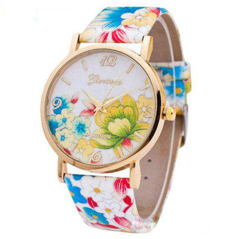 Fleurs Imprimer Faux Leather Strap Number Watch Coloré