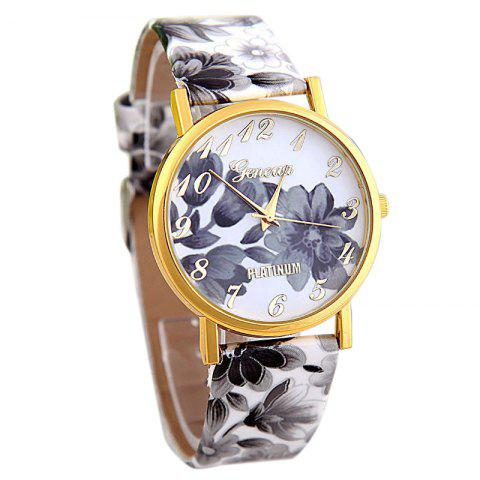 Cheap Flowers Print Faux Leather Strap Number Watch