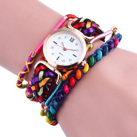 Affordable Bohemian Beaded Braided Bracelet Watch - RED  Mobile