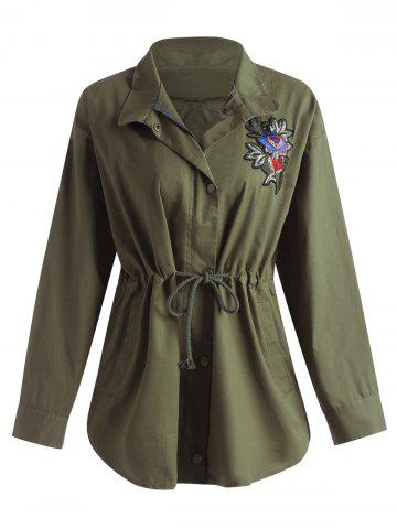 Hot Plus Size Drawstring Floral Embroidered Filed Jacket - 2XL ARMY GREEN Mobile