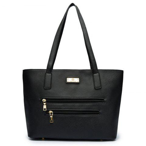 Affordable PU Leather Metal Shoulder Bag - BLACK  Mobile