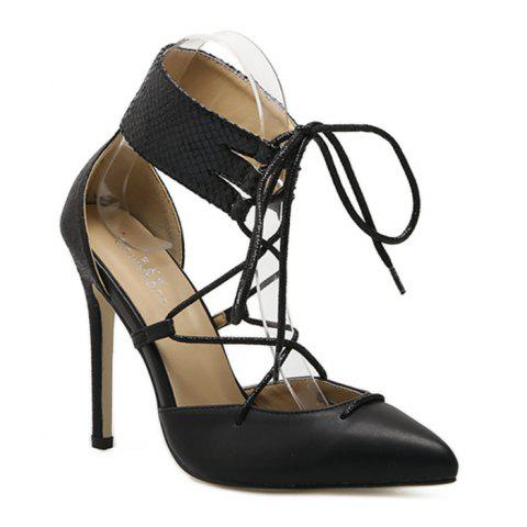 Discount Snake Embossed Ankle Wrap Pumps - 37 BLACK Mobile
