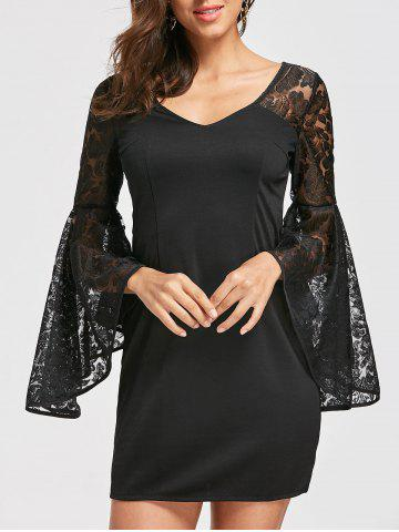 Sale Bell Sleeve Lace Insert Dress - S BLACK Mobile
