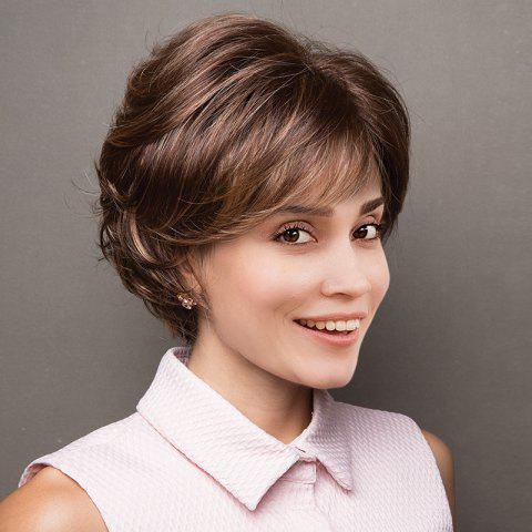 Short Side Bang Layered Shaggy Lightly Curled Colormix Perruque synthétique