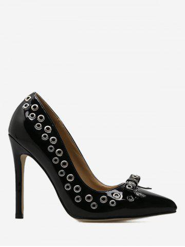 Trendy Eyelet Bowknot High Heel Pumps BLACK 37