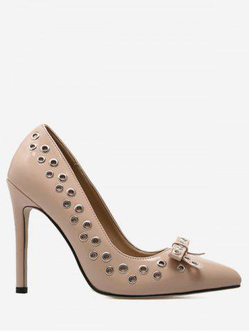 Affordable Eyelet Bowknot High Heel Pumps APRICOT 37