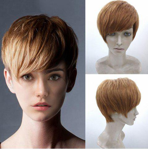 Unique Short Side Bang Layered Straight Human Hair Wig