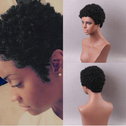 Affordable Short Sideswept Bang Shaggy Afro Curls Pixie Human Hair Wigs - 22CM BLACK Mobile