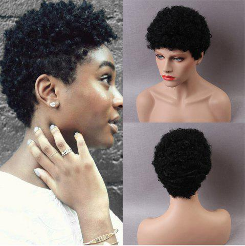 Hot Short Side Bang Fluffy Afro Curly Human Hair Wig BLACK 25CM