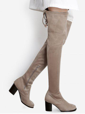 Buy Pointed Toe Tie Up Over The Knee Boots APRICOT 37