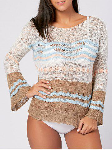 New Crochet Cover Up Top with Flare Sleeve - ONE SIZE COLORMIX Mobile