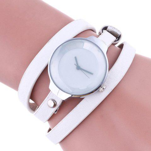 Fancy Layered Analog Wrap Bracelet Watch - WHITE  Mobile