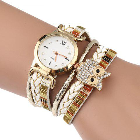 Outfits Owl Embellished Braided Bracelet Watch - WHITE  Mobile