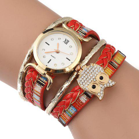 Unique Owl Embellished Braided Bracelet Watch RED