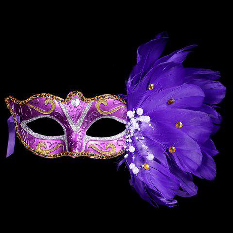 Outfit Halloween Cosplay Rhinestone Faux Feathers Mask BLUE
