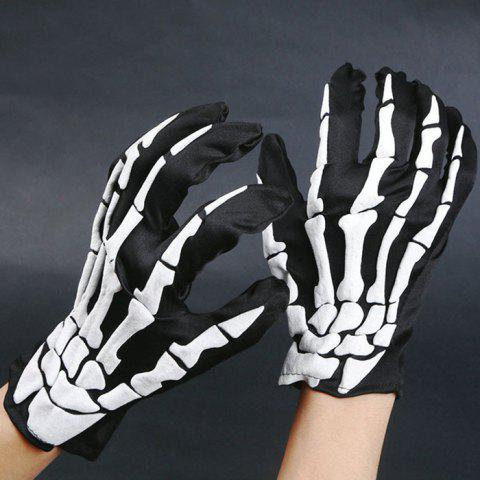 Buy Halloween Party Hand Bone Pattern Gloves BLACK WHITE