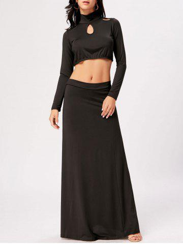 Cheap High Waisted Cut Out Two Piece Party Dress - 2XL BLACK Mobile