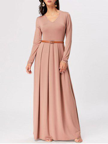 Buy Long Sleeve High Waist A Line Maxi Dress APRICOT 2XL