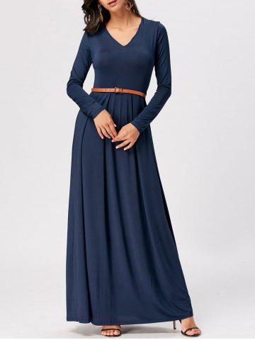 Trendy Long Sleeve High Waist A Line Maxi Dress CERULEAN 2XL