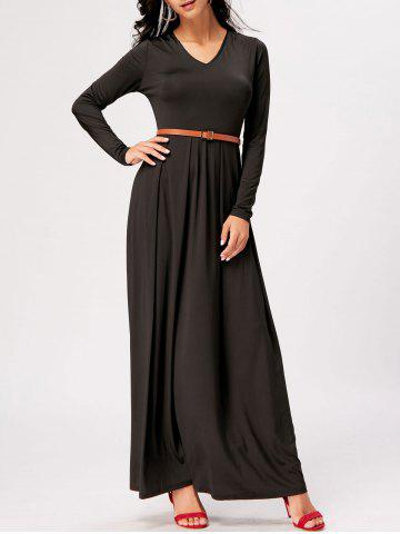 Affordable Long Sleeve High Waist A Line Maxi Dress - 2XL BLACK Mobile