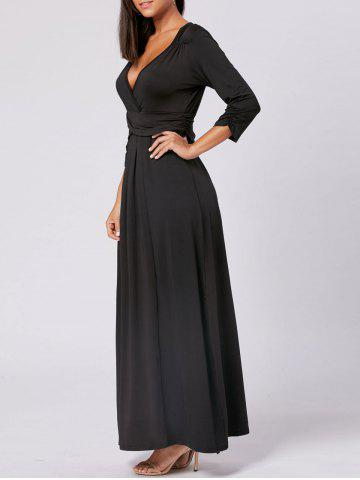 Cheap Empire Waist V Neck Long Maxi Dress BLACK 2XL