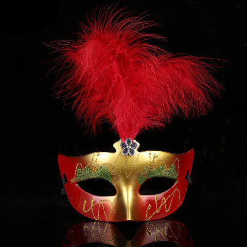 Affordable Halloween Party Cosplay Faux Feather Floral Mask RED
