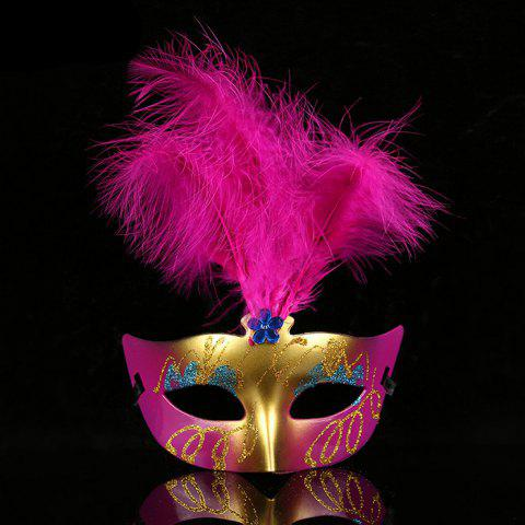 Trendy Halloween Party Cosplay Faux Feather Floral Mask TUTTI FRUTTI