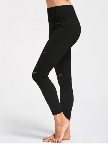 Outfits Ripped High Waist Leggings BLACK M