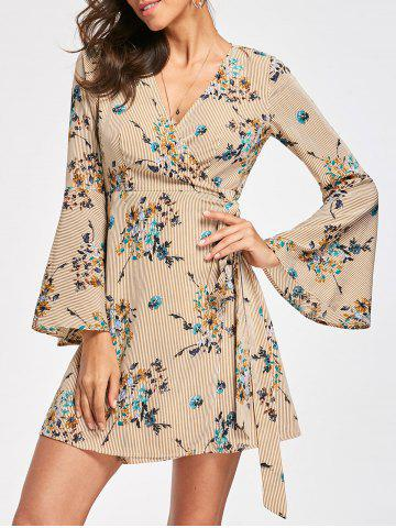 Affordable Flare Sleeve Slef Tie Wrap Dress - S GINGER Mobile