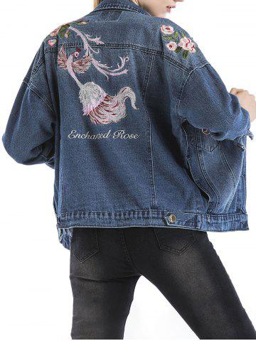 Chic Embroidered Ripped Denim Jacket BLUE XL