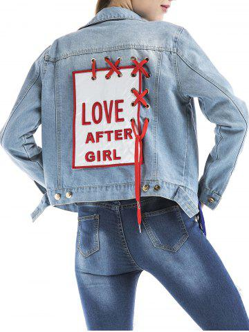 Embroidered Eyelet Lace Up Graphic Denim Jacket