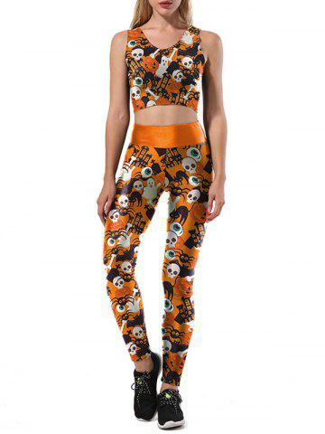Latest Halloween Ghost Skulls Two Piece Leggings Set ORANGE S