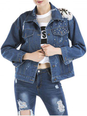 Best Beaded Ripped Embroidered Denim Jacket - S BLUE Mobile