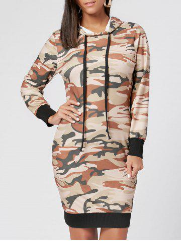Cheap Drawstring Camo Print Hoodie Dress JUNGLE CAMOUFLAGE S