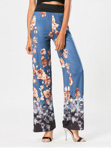 Online Flower Print High Waist Wide Leg Pants - S BLUE Mobile