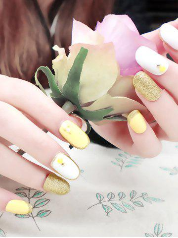 Discount 20Pcs Glitter Powder Stud Nail Art Fake Nails - WHITE AND YELLOW  Mobile