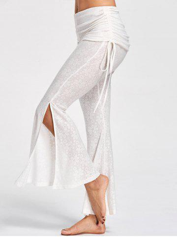 Affordable Foldover Ruched Floral Slit Flare Pants - XL OFF-WHITE Mobile