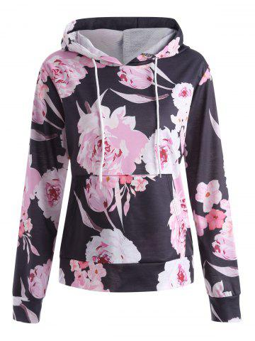 Outfit Plus Size Floral Printed Kangaroo Pocket Hoodie - 5XL BLACK Mobile