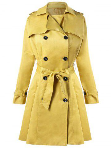 Shops Double Breasted Tie Belt Trench Coat YELLOW S