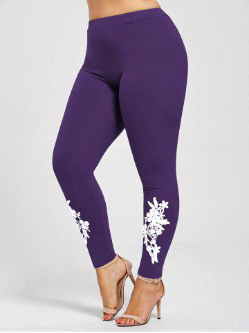 Plus Size Appliqued Skinny Jersey Leggings