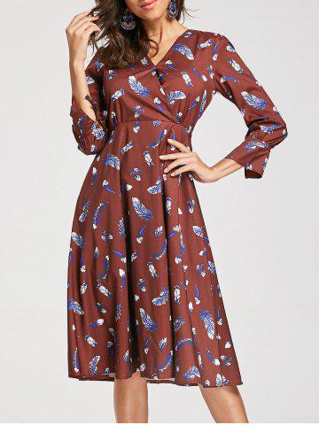 Best Knee Length Feather Print Surplice Dress
