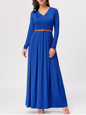 Cheap Long Sleeve High Waist A Line Maxi Dress