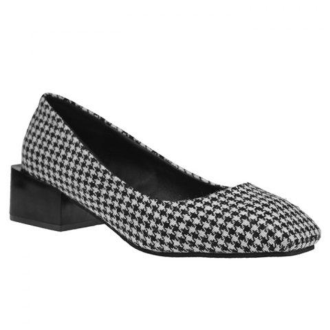 Shop Checkered Square Toe Slip On Chunky Pumps