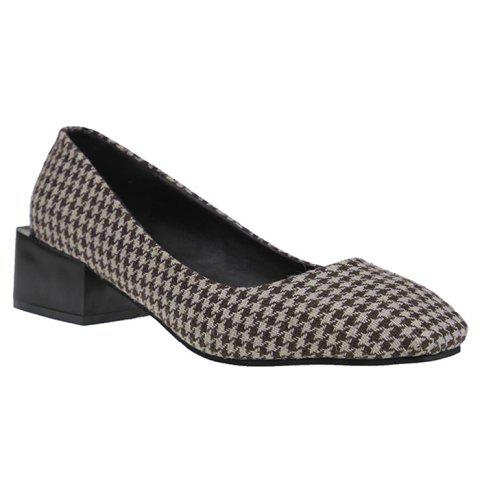 Checkered Square Toe Slip On Chunky Pumps