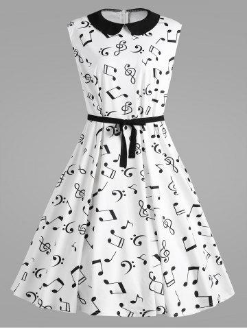 Hot Retro Plus Size Musical Notes Printed Dress
